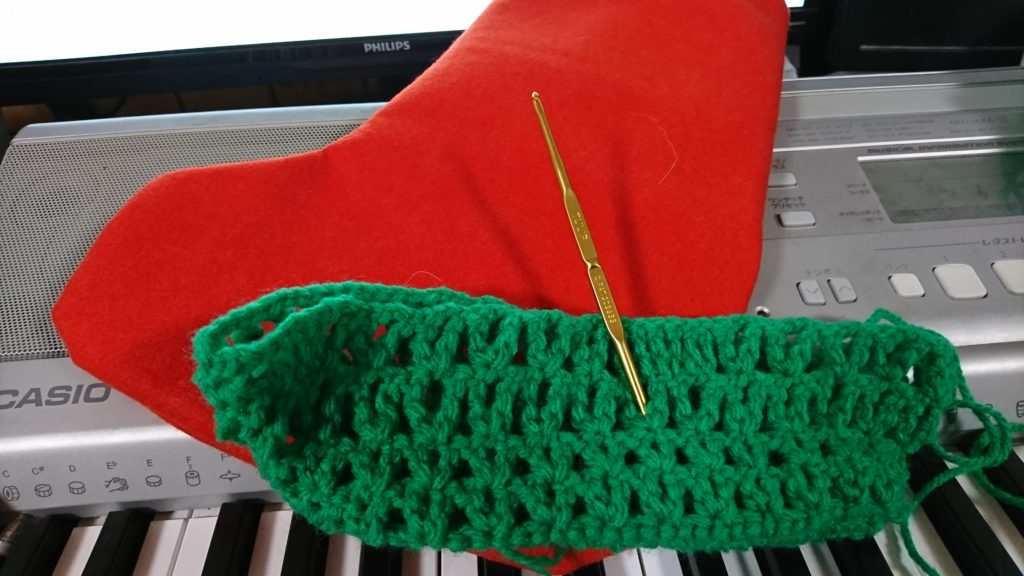 クリスマスソックス編み物
