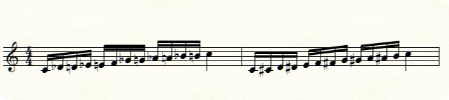 上昇形の音符にはシャープが読みやすい