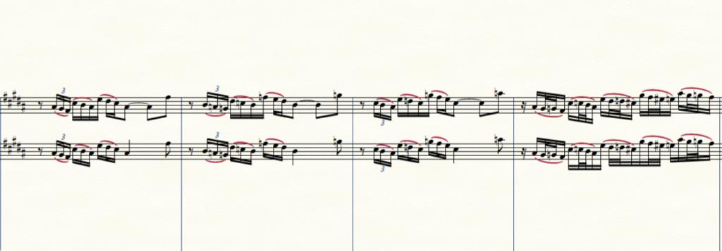 とある譜面を2パターンで書いた